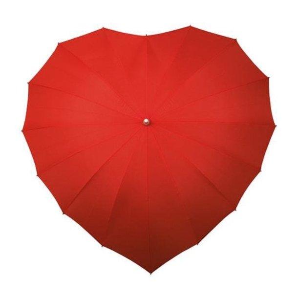 5548420c1 Hjerte paraply, rød