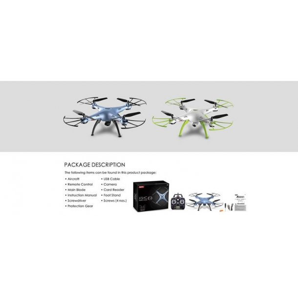 SYMA X5HC fjernstyret drone med HD kamera, hvid