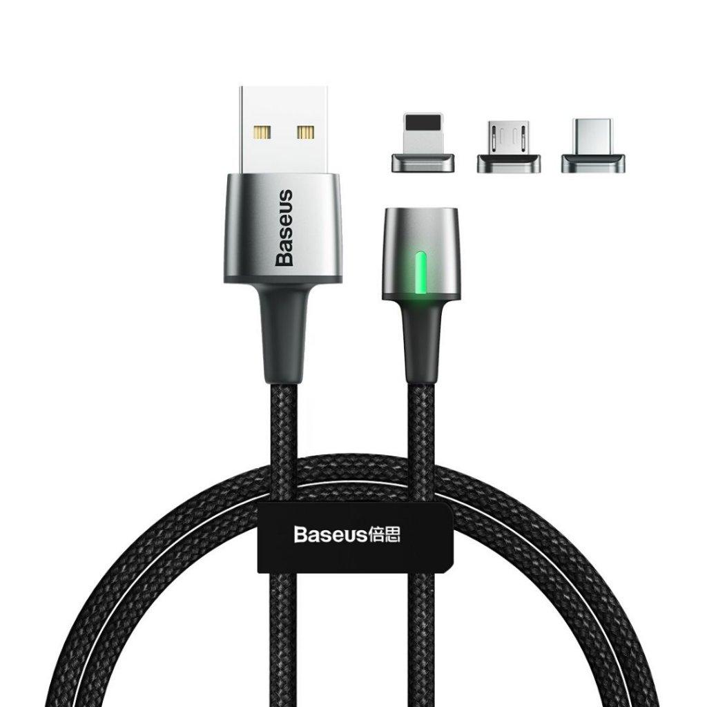 Magnetisk 3-i-1 ladekabel, MicroUSB, USB-C og Lightning